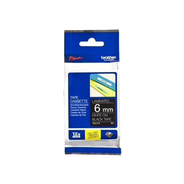 Brother TZE-315 P- Touch White/Black Tape(6mm x 8m)