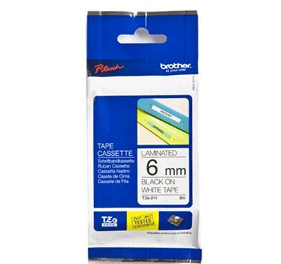 Brother  TZE-211 P- Touch Black/Clear Tape(6mm x 8m)