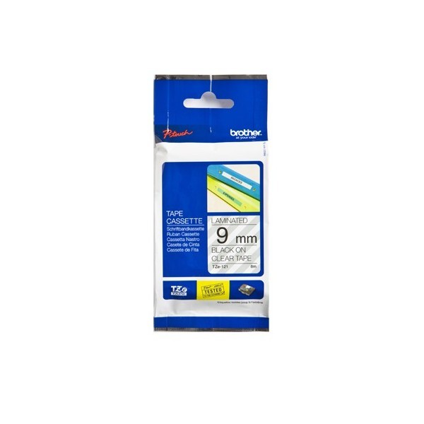 Brother  TZE-121 P- Touch Black/Clear Tape(9mm x 8m)