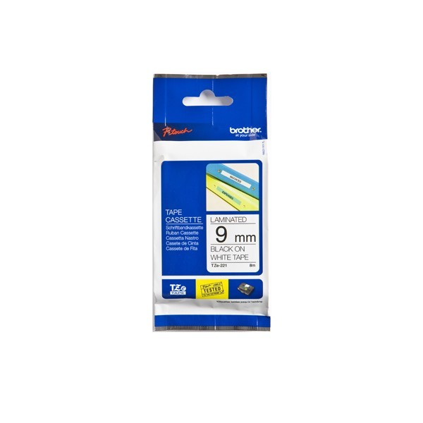 Brother TZE-221 P- Touch Black/White Tape(9mm x 8m)