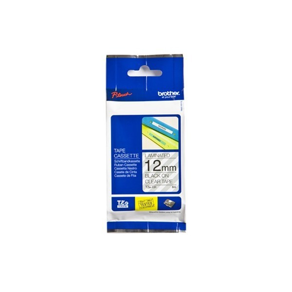 Brother TZE-131 P- Touch Black/Clear Tape (12mm x 8m)