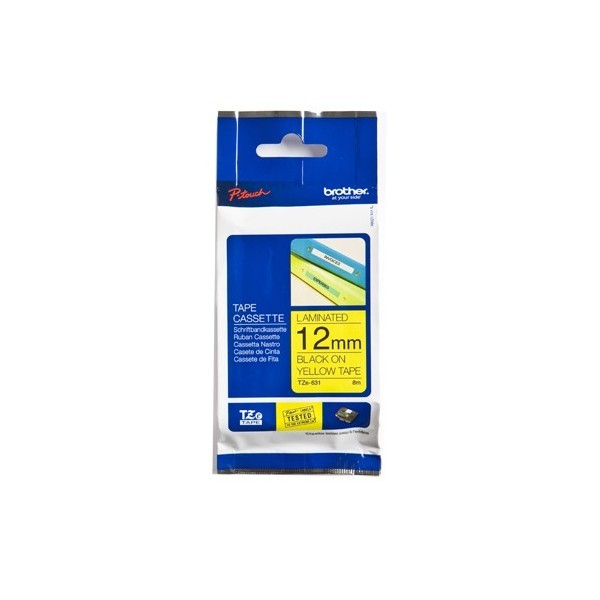 Brother TZE-631 P- Touch Black/Yellow Tape(12mm x 8m)